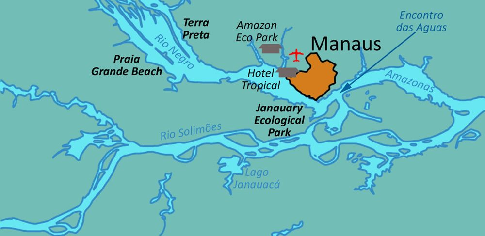 Map showing the jungle lodges in relation to Manaus and the Amazon river.
