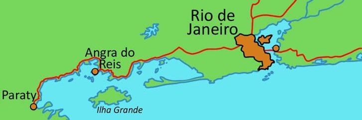 Rio De Janeiro region on the coastal map.