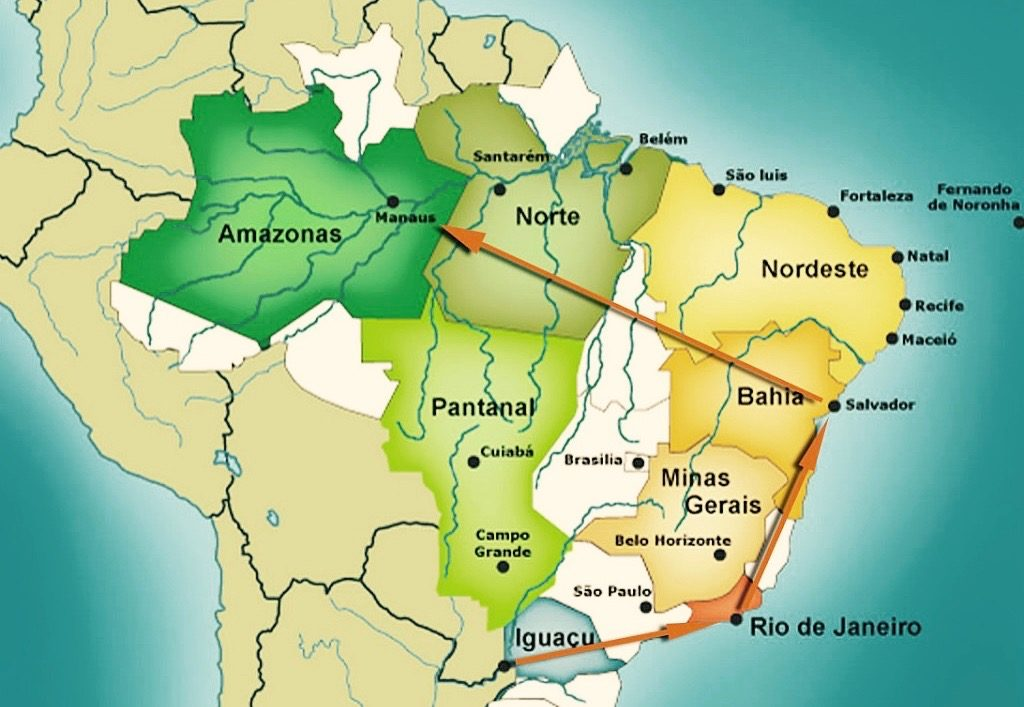 Map highlighting the stops on the must-see Brazil tour.