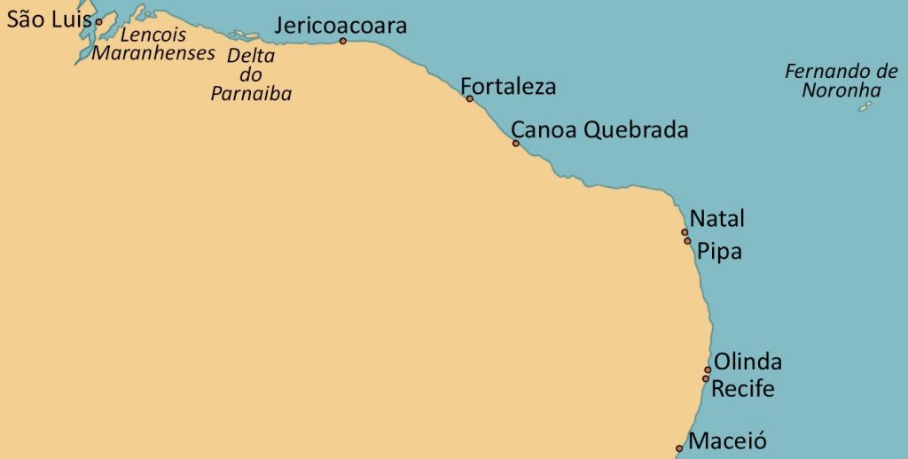 Map showing the beaches of Northeast Brazil.