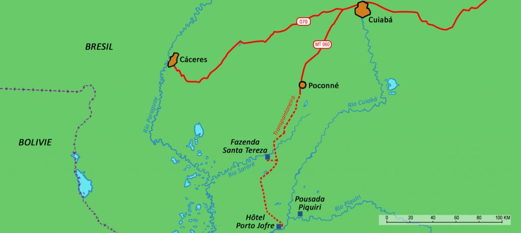 Map showing the track from Cuiabá to Poconé.