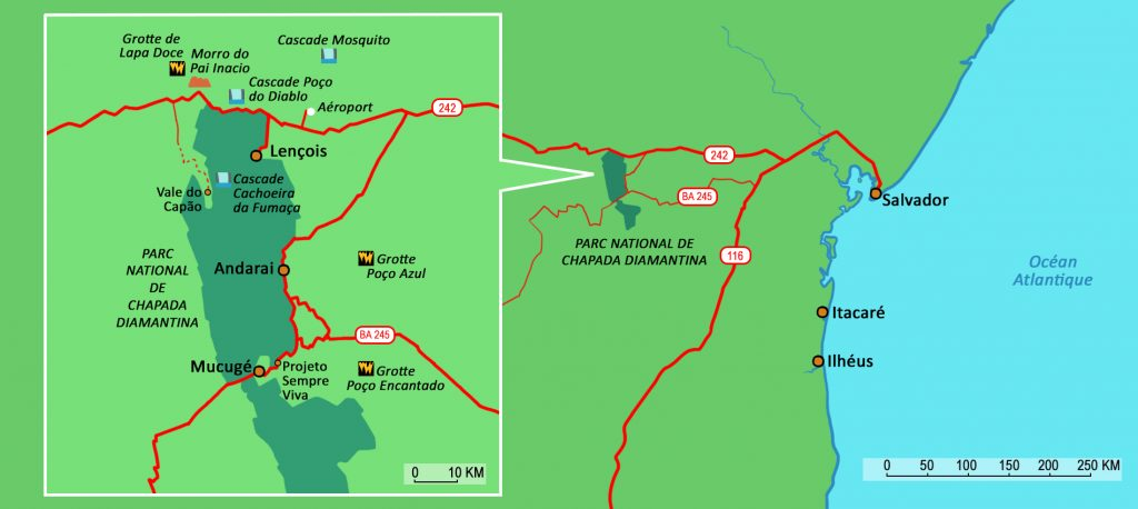 Map showing the National Park of Chapada Diamantina.