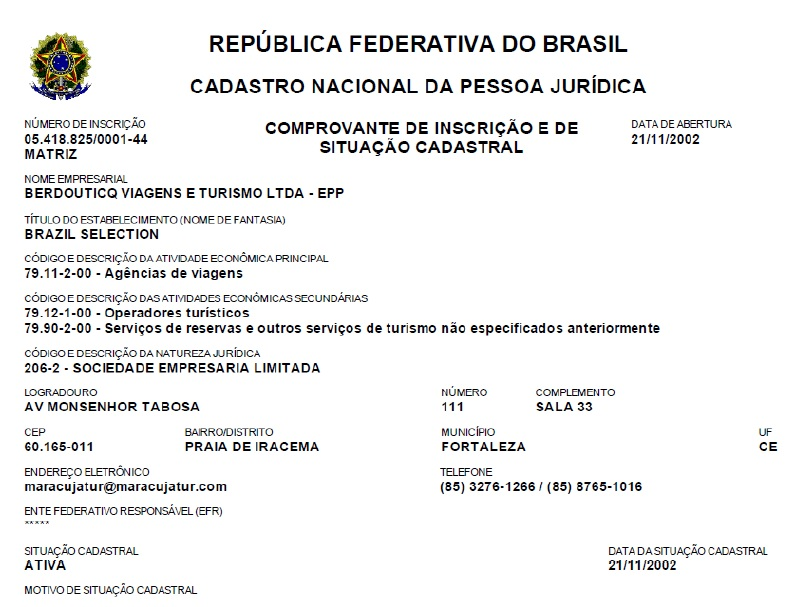 Brazil Selection - Legal Certificates and Information