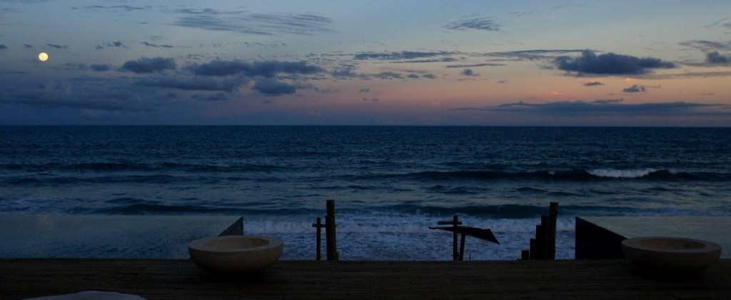 The luxurious Kenoa resort at dusk.