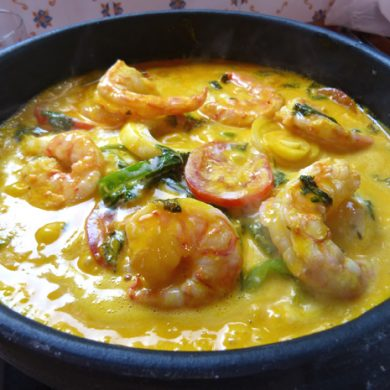 Moqueca made from fish and shrimp.
