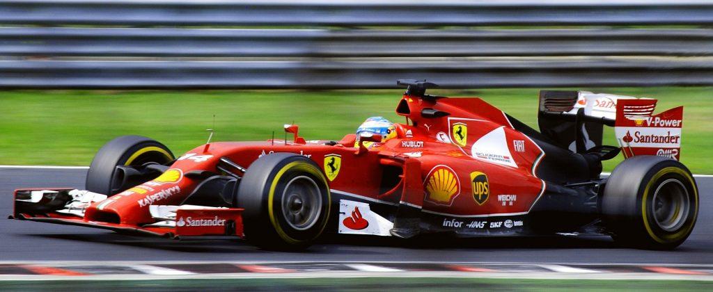 Red Ferrari on Interlagos circuit outside Sao Paulo.