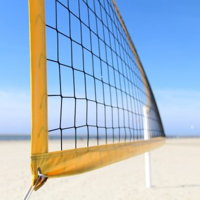A beach volleyball net.