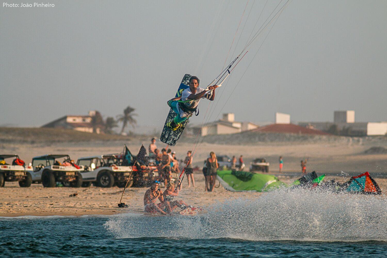 Kitesurfer performing advanced maneuver.