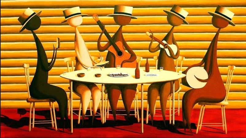 tableau de joueurs de samba