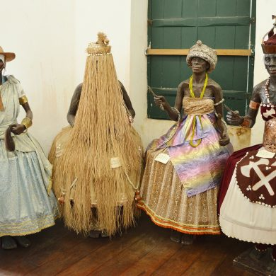 Four statues of Orixais, spirits of the Candomble religion.