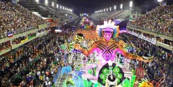 A samba school parades through the Sambadrome during the carnival in Rio.
