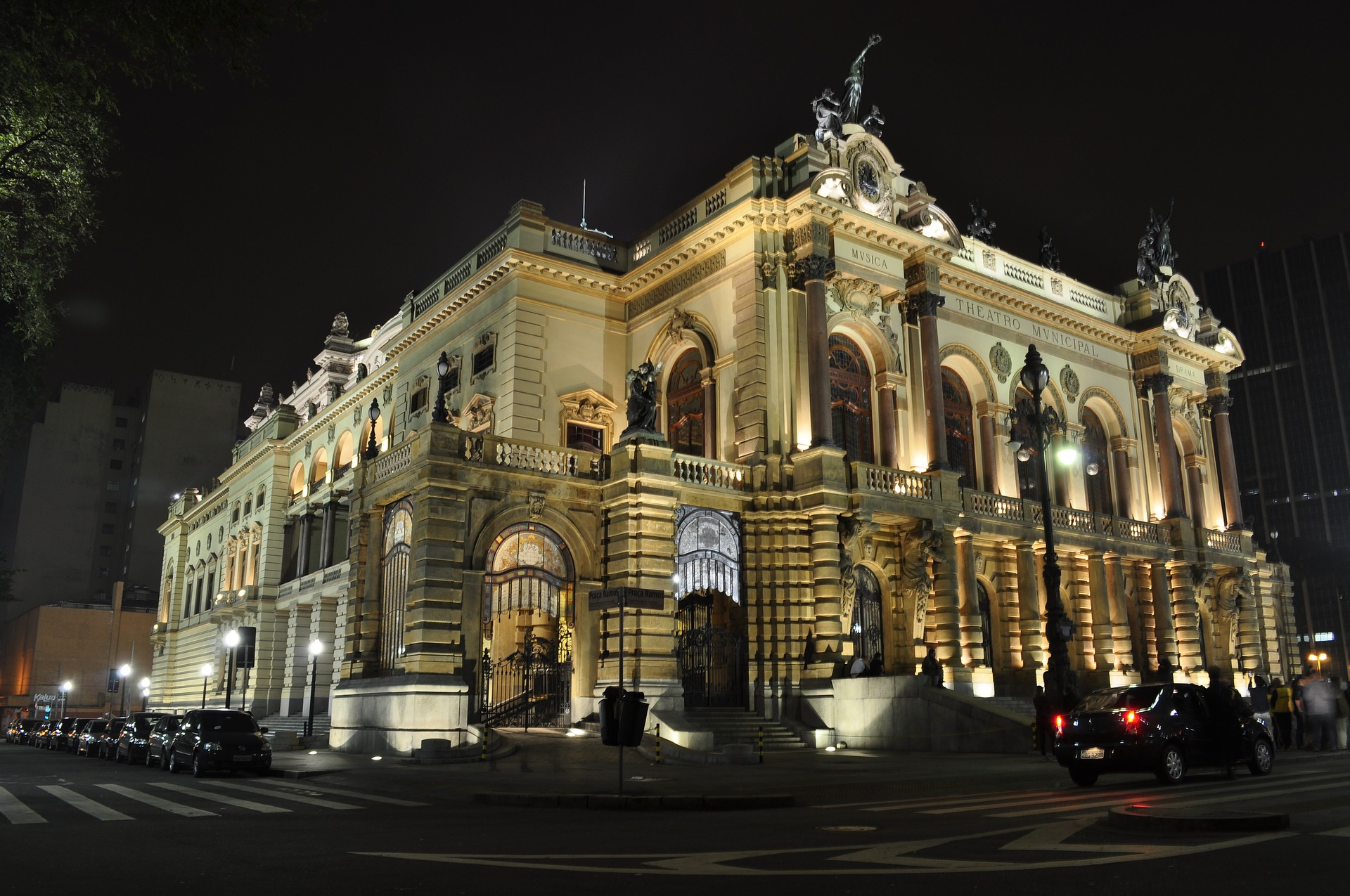 Municipal theater in Sao Paulo at night time.