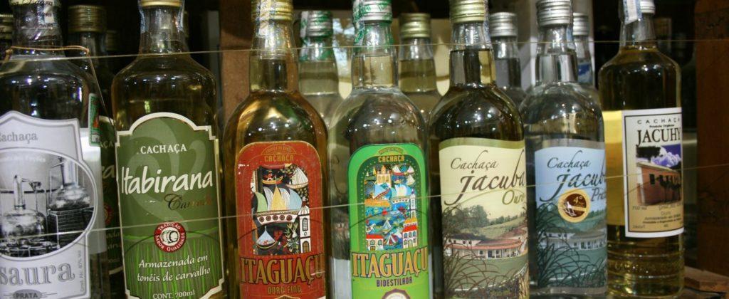 An assortment of bottles of Cachaca.