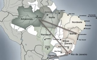 Map of the Honeymoon in Brazil Tour.