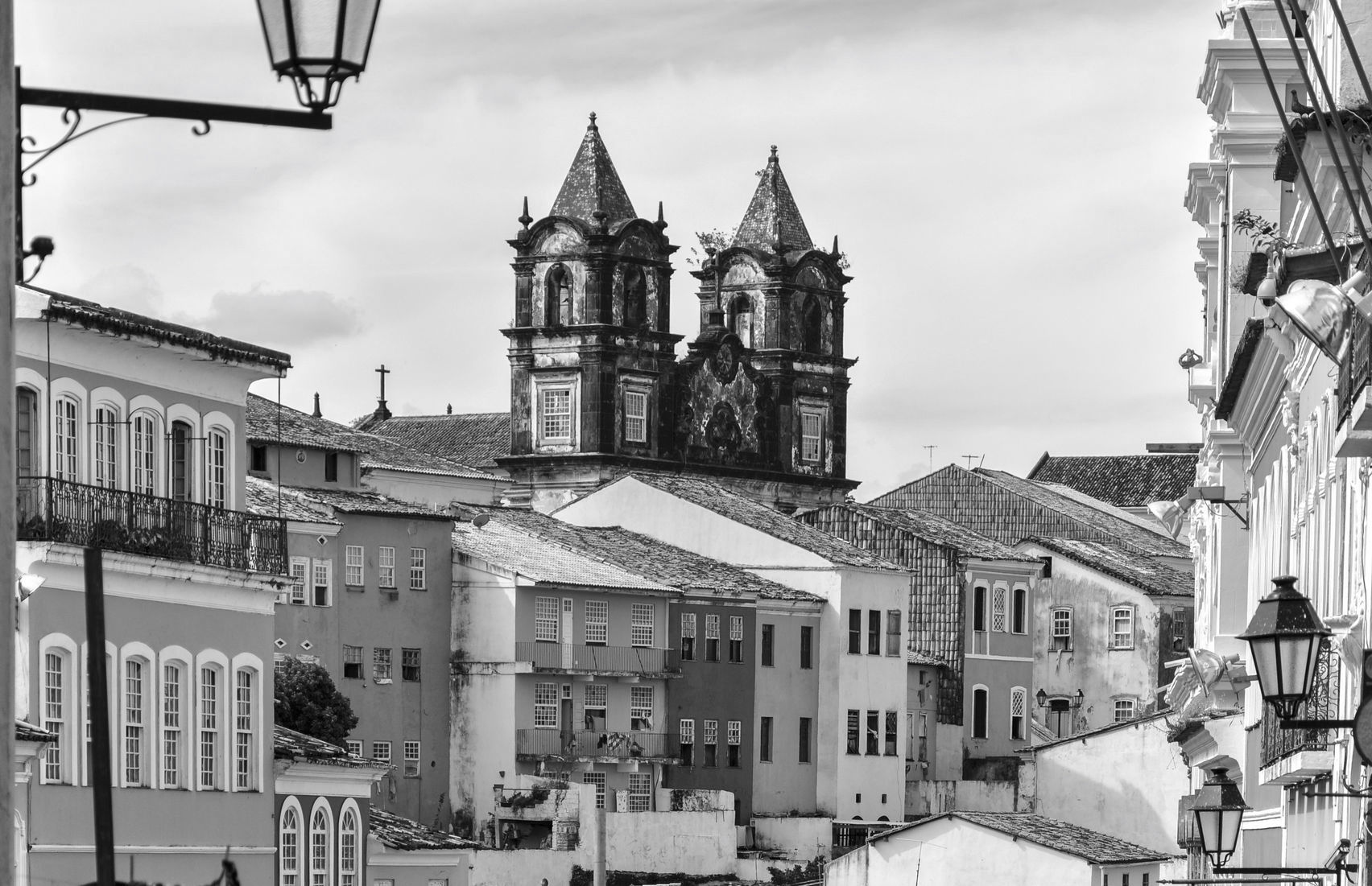 Black and White of church in Pelourinho.