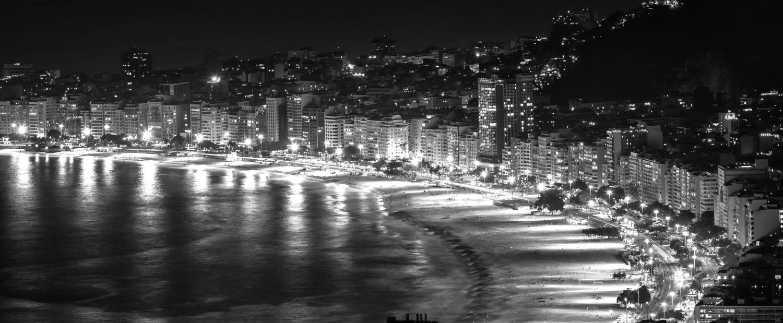 Black and White of Rio de Janeiro at night.