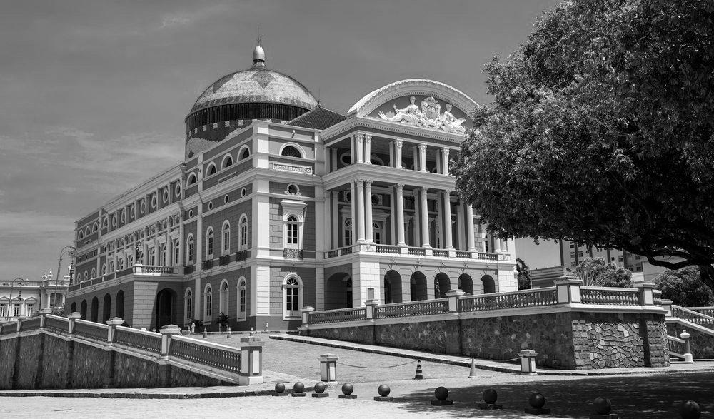 Black and White of theater Amazonas in Manaus.