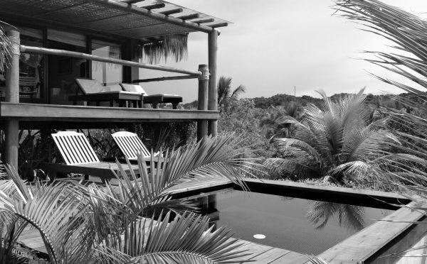 Garden and pool of Txai Itacaré in Black and White.