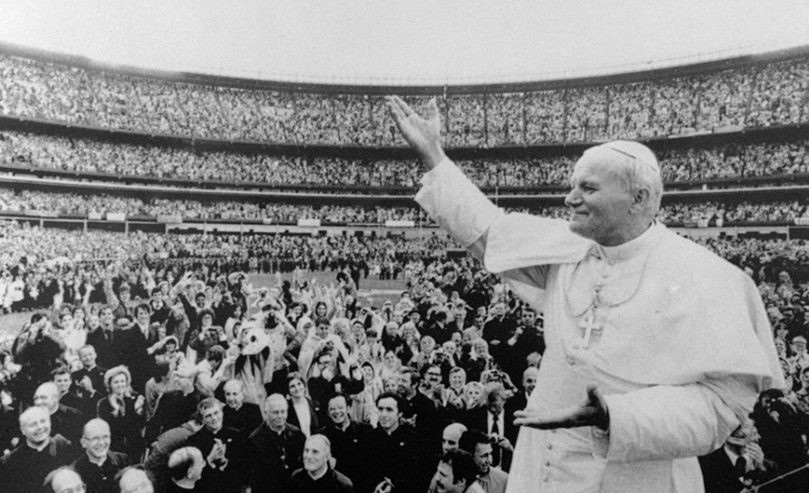 Pope John Paul II visits Maracana stadium.